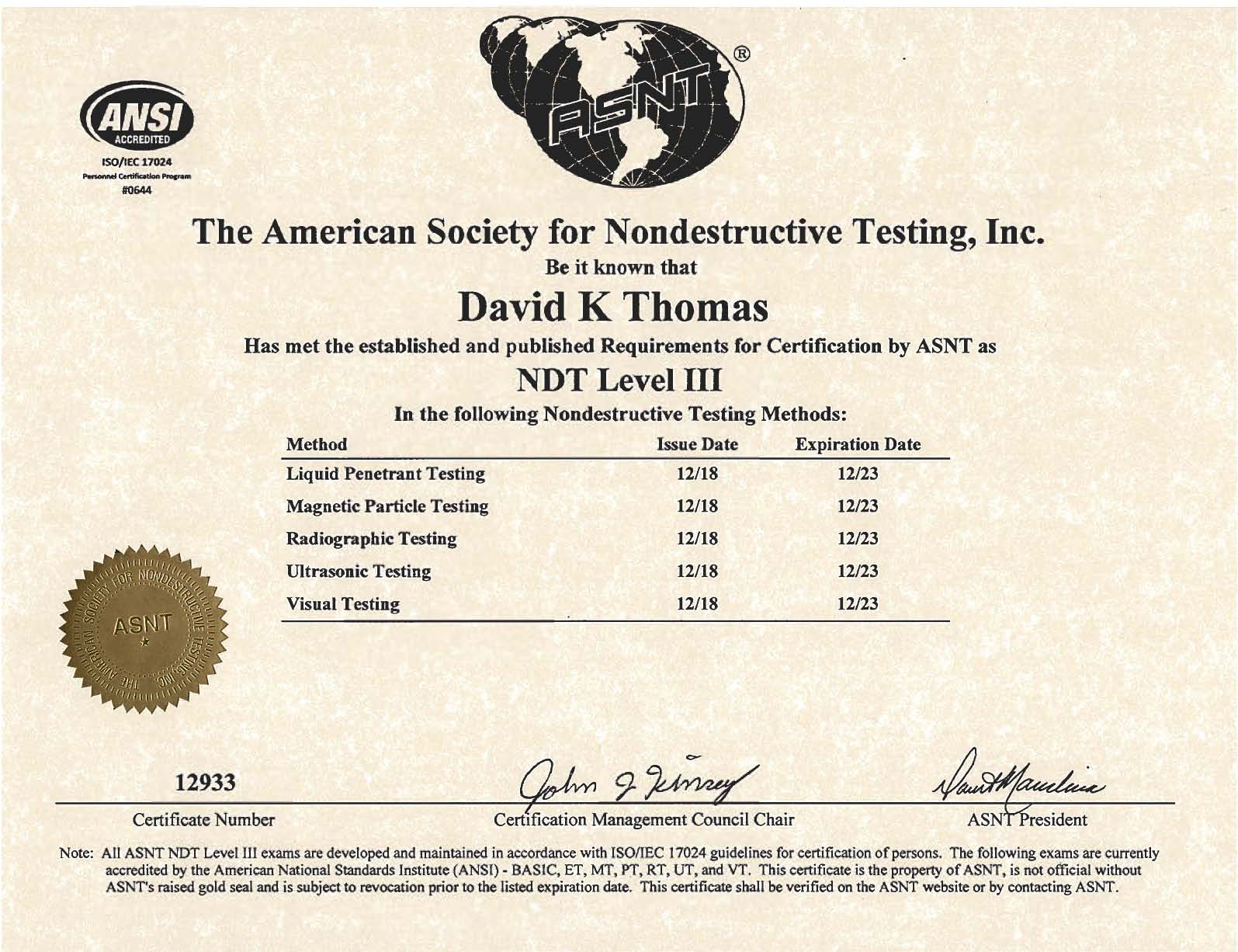 NDT Level 3 Services - David Thomas - Resources